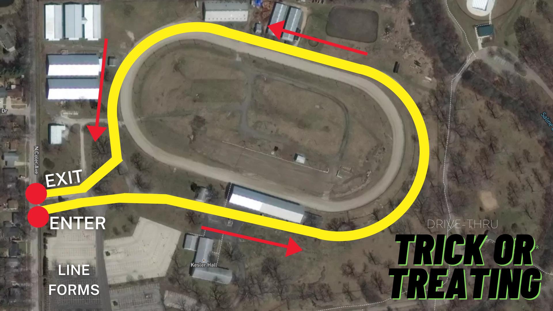 Drive Thru Trick or Treating Map