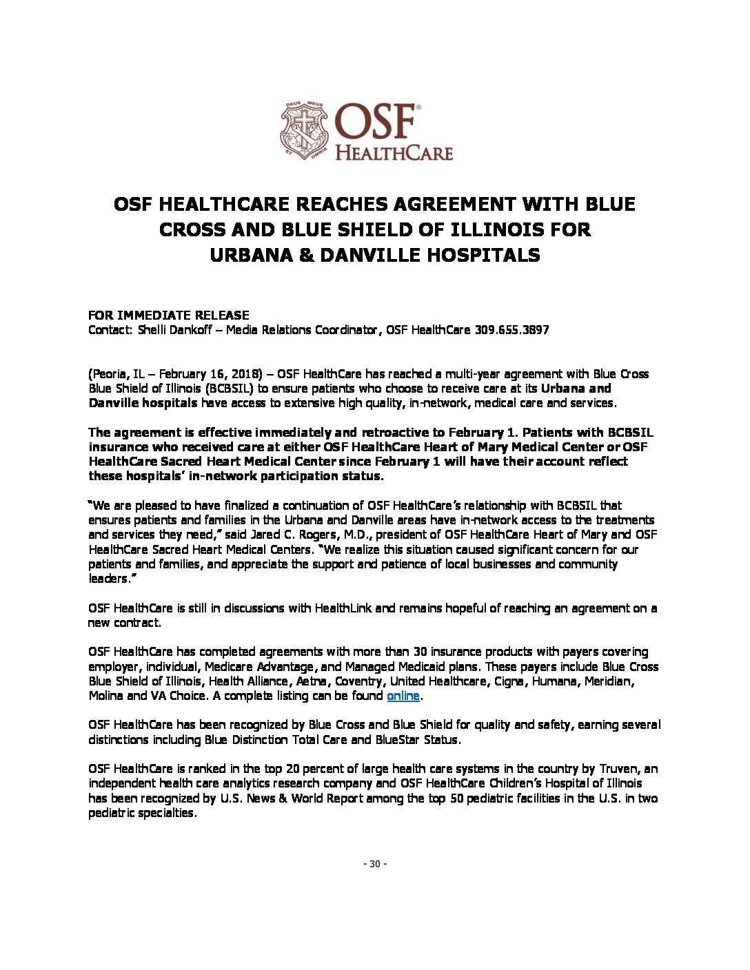 OSF HealthCare-BCBSIL Agreement Release 2-16-18 FINAL - Mix